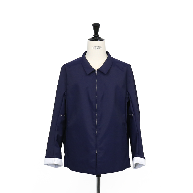 OVERCOAT / SET-IN SLV SHORT OVERCOAT WITH BAL COLLAR IN LAMINATED AWNING/NAVY