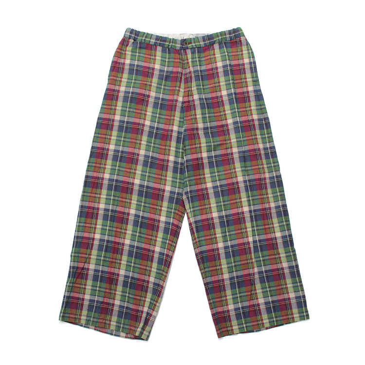 DRAWSTRING WIDE PANTS/MADRAS RED