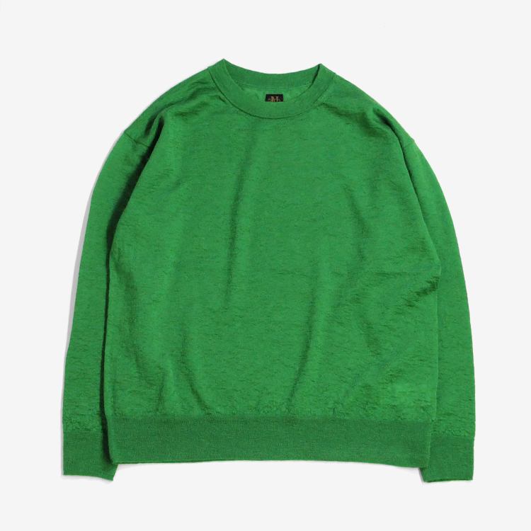 BATONER(WOMEN) / SILK MOHAIR LIGHT CREW NECK / GREEN