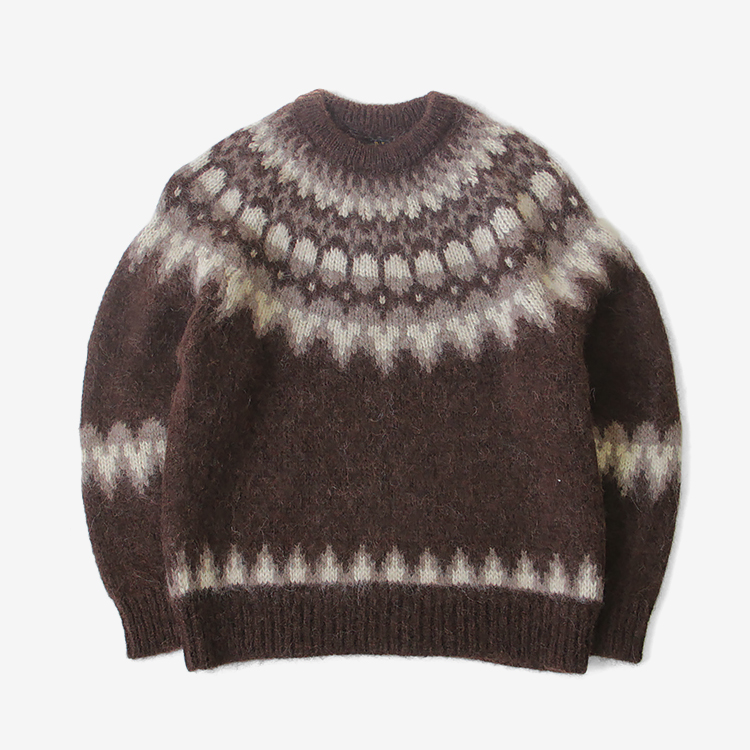 BATONER(WOMEN) / MOHAIR NORDIC CREW NECK / BROWN
