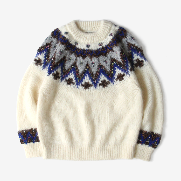 COOHEM (WOMEN) / MOHAIR NORDIC KNIT / WHITE