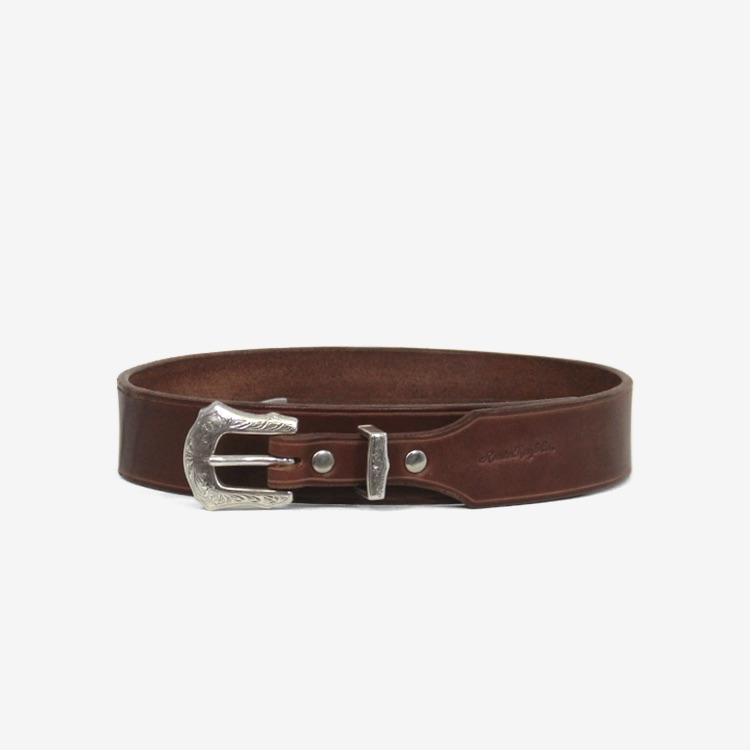 SEVEN BY SEVEN / WESTERN BELT - Carving leather - Collaborated by RoosterKing&Co. / BROWN