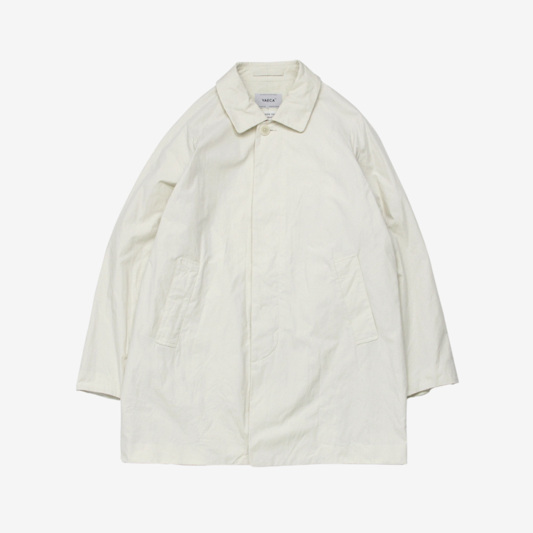 YAECA(MEN) / SOUTIEN COLLAR COAT - SHORT / WHITE